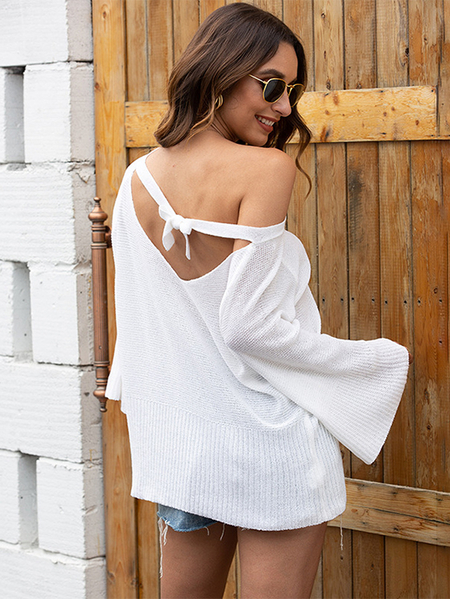 Yoins Backless design Cut out Bell sleeves Knit Top