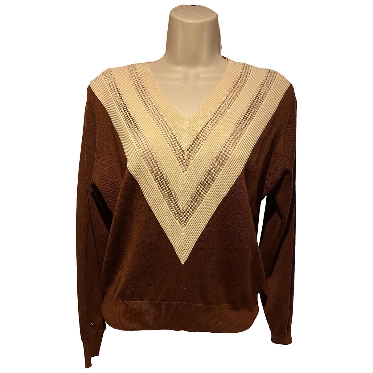 Sandro - Pull   pour femme en laine - marron