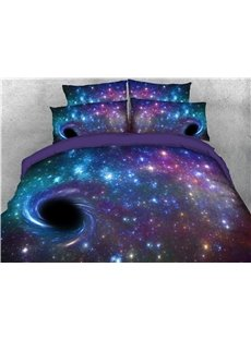 Black Holes In Purple Galaxy 3D Printed Convenient Cleaning 5-Piece Warm Comforter Sets