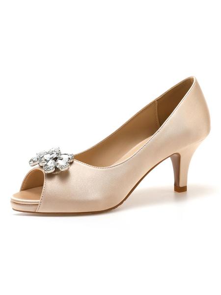 Milanoo Women Peep Toe Heels Kitten Heel Metal Details Chic Slip-On White Shoes