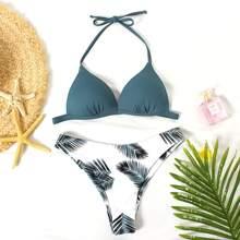 Tropical Triangle Halter Bikini Swimsuit