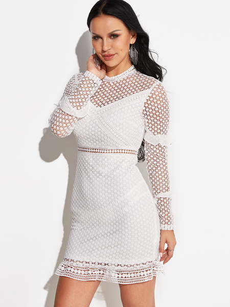 Yoins White Lace Hollow Out Hight Neck Long Sleeves Dress