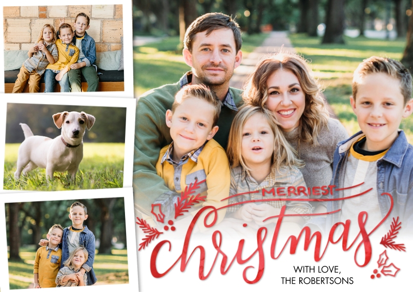 Christmas Photo Cards 5x7 Cards, Standard Cardstock 85lb, Card & Stationery -Christmas Merriest by Tumbalina