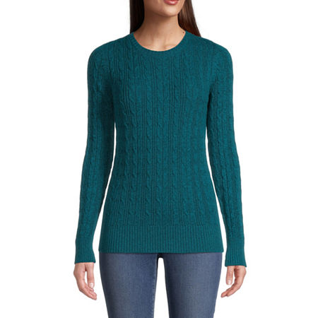 St. John's Bay Cable Womens Crew Neck Long Sleeve Pullover Sweater, Large , Blue