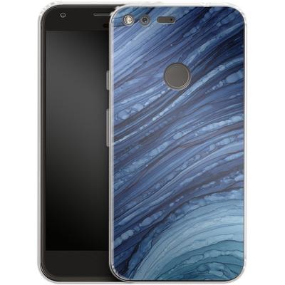 Google Pixel XL Silikon Handyhuelle - Blue Agate Crystal Slice von Becky Starsmore
