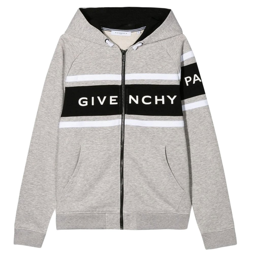 Givenchy Kids Logo Zip-up Hoodie Colour: GREY, Size: 12 YEARS