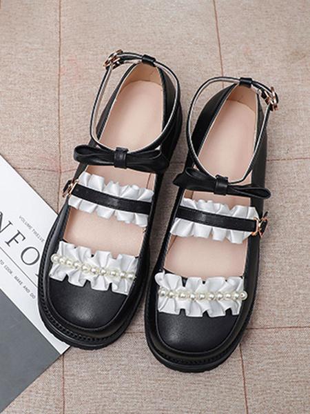 Milanoo Sweet Lolita Footwear White RufflesBows Pearl PU Leather Flat Lolita Pumps