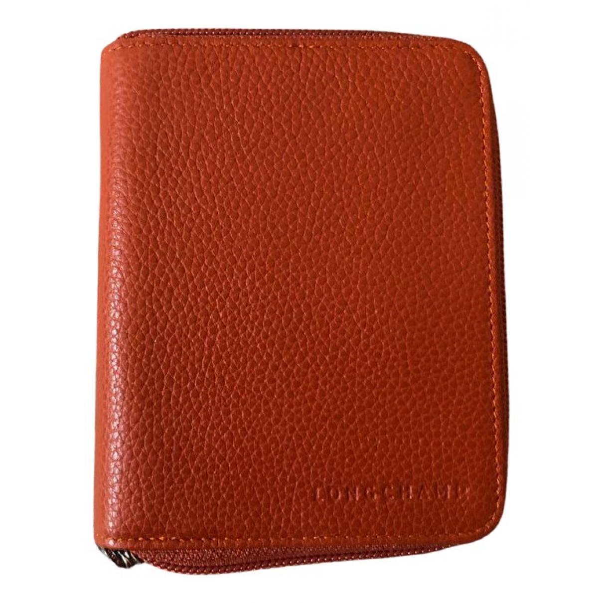 Longchamp - Portefeuille   pour femme en cuir - orange