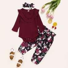Baby Girl Ruffle Bodysuit & Floral Paperbag Pants & Headband