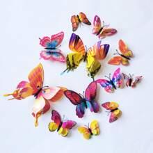 12 Stuecke Wandaufkleber mit 3D Schmetterling Design
