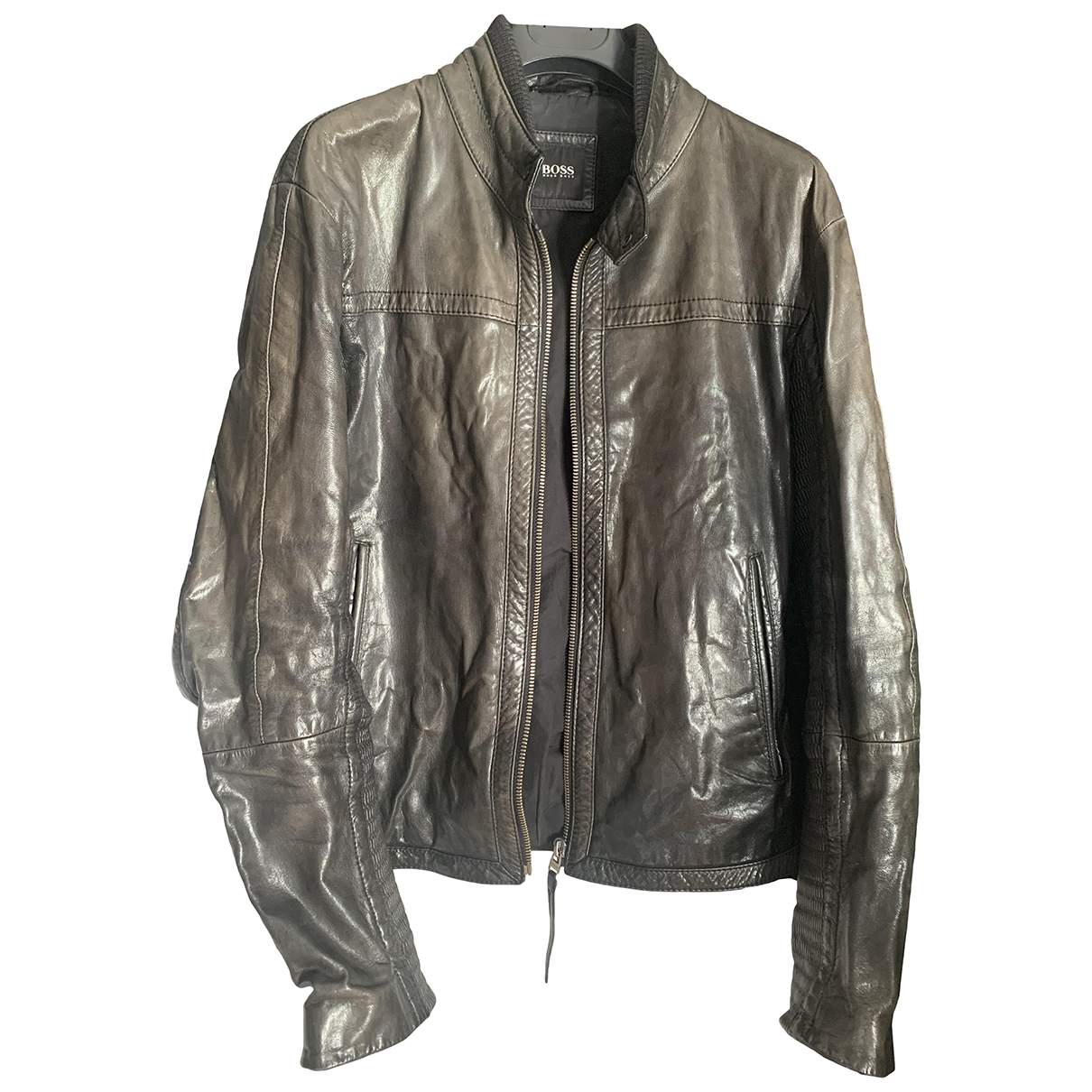 Boss N Anthracite Leather jacket  for Men 50 IT