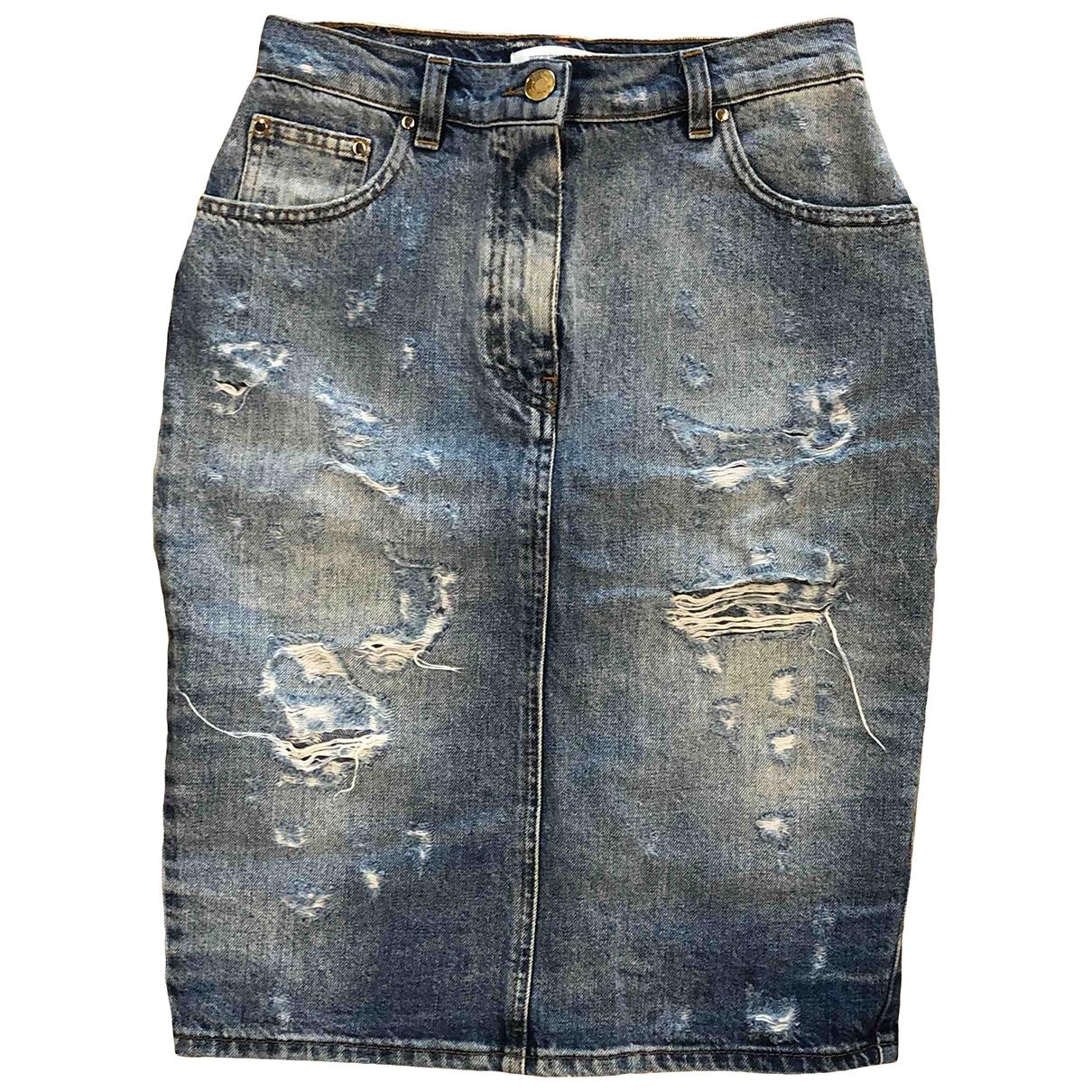 Pierre Balmain \N Blue Denim - Jeans skirt for Women 40 FR