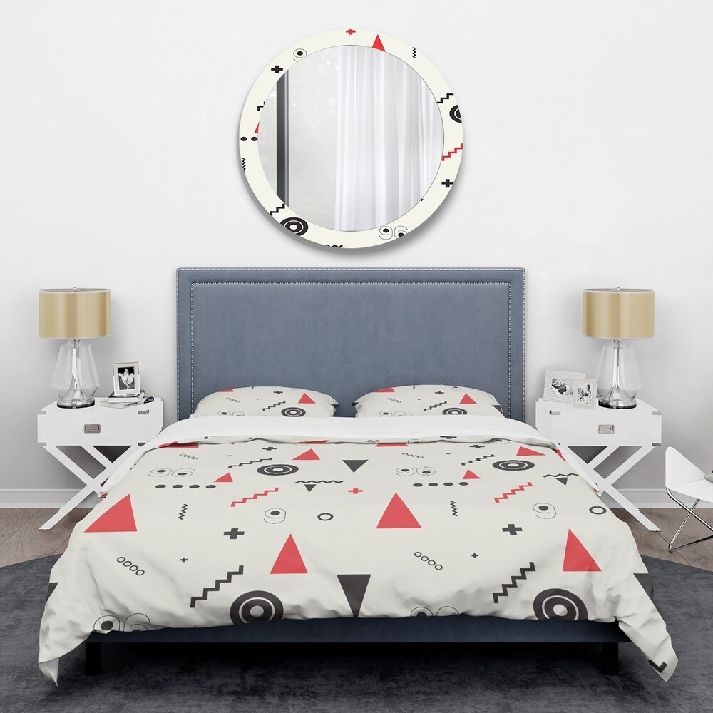 Designart 'Triangular Retro Design III' Mid-Century Duvet Cover Set (Full/Queen Cover +2 Shams (comforter not included))