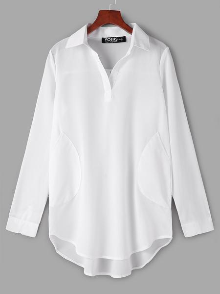 Yoins White Chiffon Dress With Irregular Hem