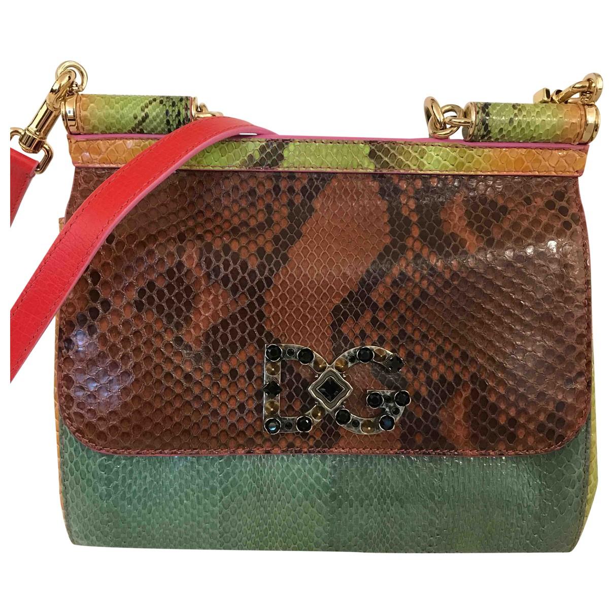 Dolce & Gabbana - Sac a main Sicily pour femme en python - multicolore