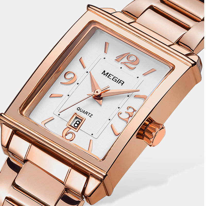 Retro Fashion Women Wristwatch Square Three-Pin Dial Calendar Steel Belt Quartz Watch