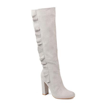 Journee Collection Womens Vivian Block Heel Zip Boots, 9 Medium, Gray