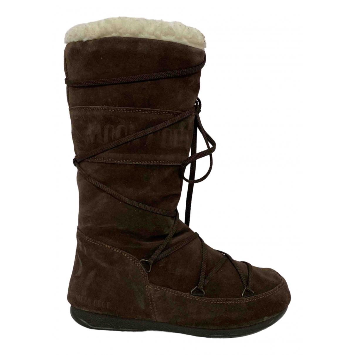 Moon Boot - Bottes   pour femme en suede - marron