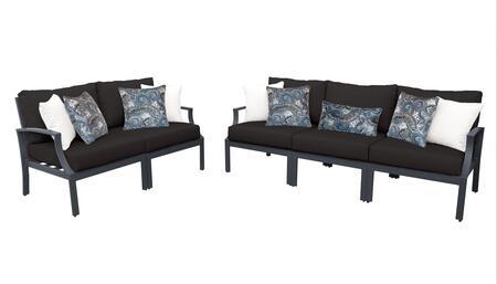 Lexington LEXINGTON-05a-BLACK 5-Piece Aluminum Patio Set 05a with 2 Left Arm Chairs  2 Right Arm Chairs and 1 Armless Chair - Ash and Black