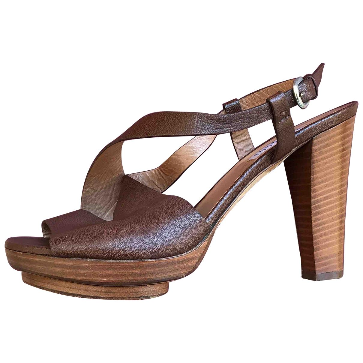 Fratelli Rossetti - Sandales   pour femme en cuir - marron