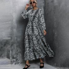 A-Linie Kleid mit Schlangenleder Muster und Halsband