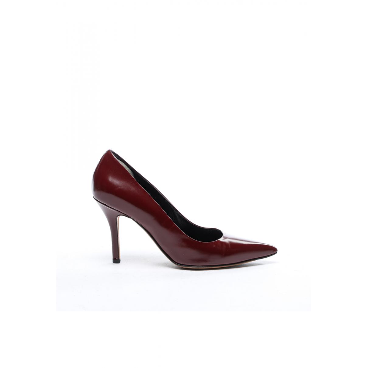 Celine - Escarpins   pour femme en cuir verni - bordeaux