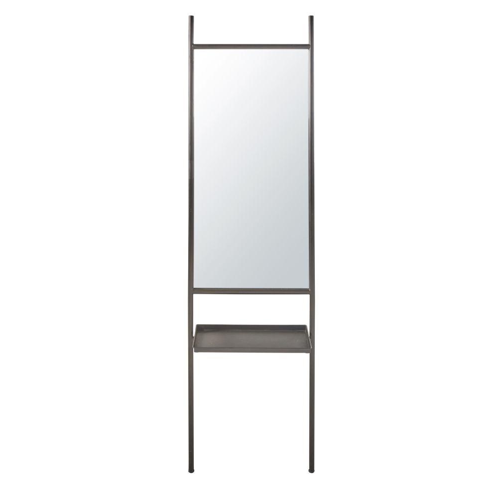 Spiegel mit schwarzem Metallrahmen und Ablage 45x175