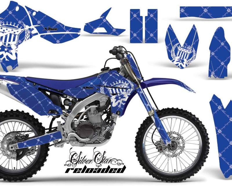 AMR Racing Graphics MX-NP-YAM-YZ450F-10-13-SSR W U Kit Decal Sticker Wrap + # Plates For Yamaha YZ450F 2010-2013áRELOADED WHITE BLUE
