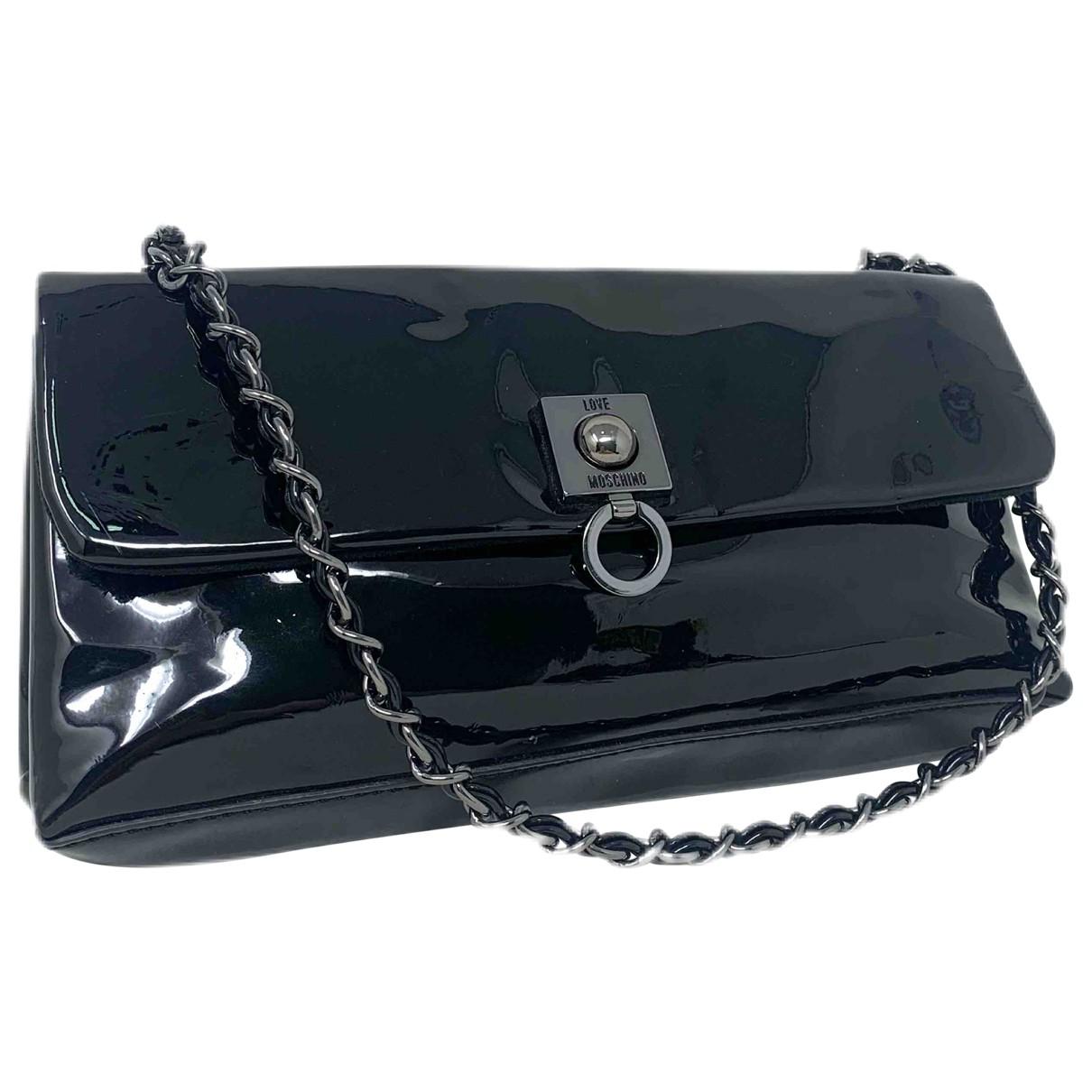 Moschino Love \N Handtasche in  Schwarz Lackleder