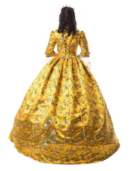 Milanoo Victorian Dress Costume Women's Golden Trim Ruffle Floral Print Victorian Era Style Set Matte Satin Ball with Choker Vintage Clothing Hallowee
