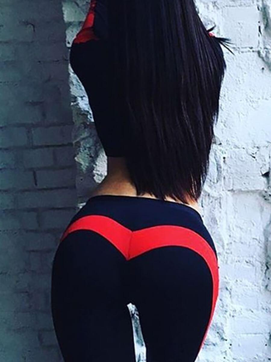 LW Lovely Sportswear Patchwork Skinny Red Pants