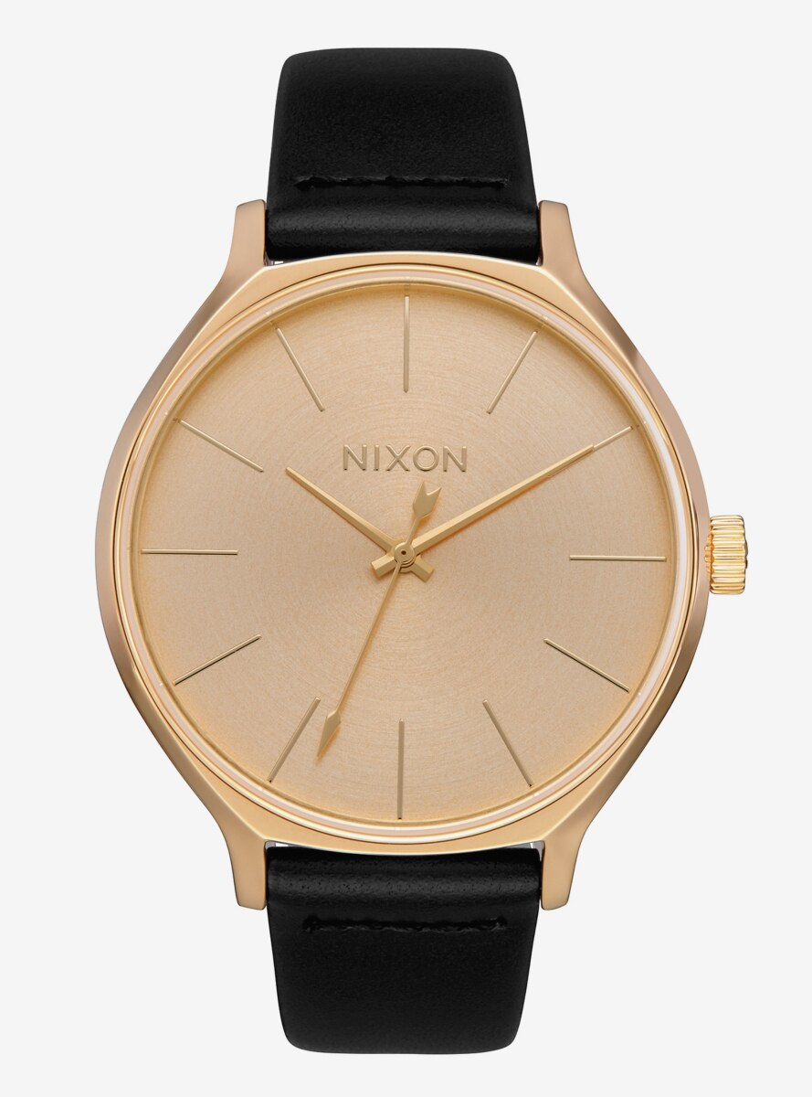 Nixon Clique Leather All Gold Black Watch