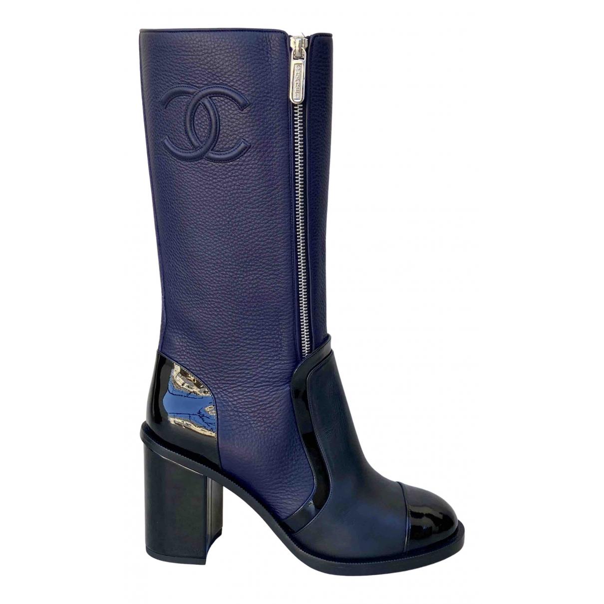 Chanel \N Stiefel in  Marine Leder