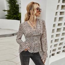 Bluse mit Leopard Muster, geraffter Taille und Schosschen
