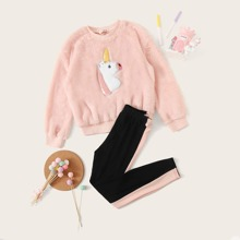Girls Unicorn Patched Teddy Pullover & Striped Side Leggings Set