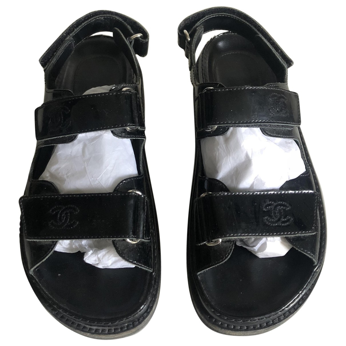Chanel Dad Sandals Sandalen in  Schwarz Leder
