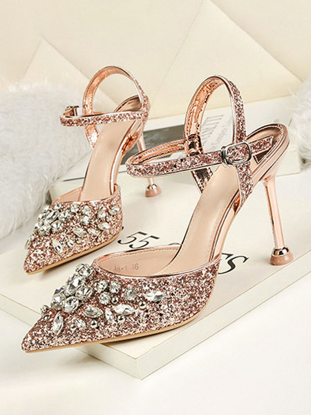 Milanoo Women High Heels Sequined Pointed Toe Rhinestones Slingbacks Evening Shoes