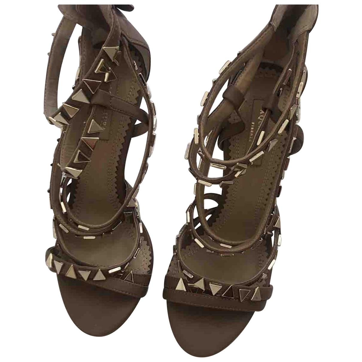 Aquazzura \N Camel Leather Sandals for Women 36 EU