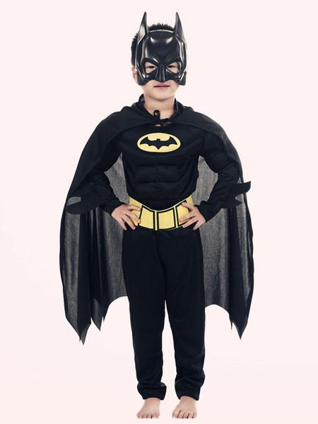 Milanoo Batman Costume Halloween Kids Black Jumpsuits Outfit 4 Piece