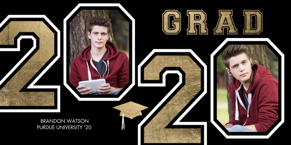 2020 Graduation Announcements Flat Glossy Photo Paper Cards with Envelopes, 4x8, Card & Stationery -Grad 2020 Numbers Memories by Tumbalina