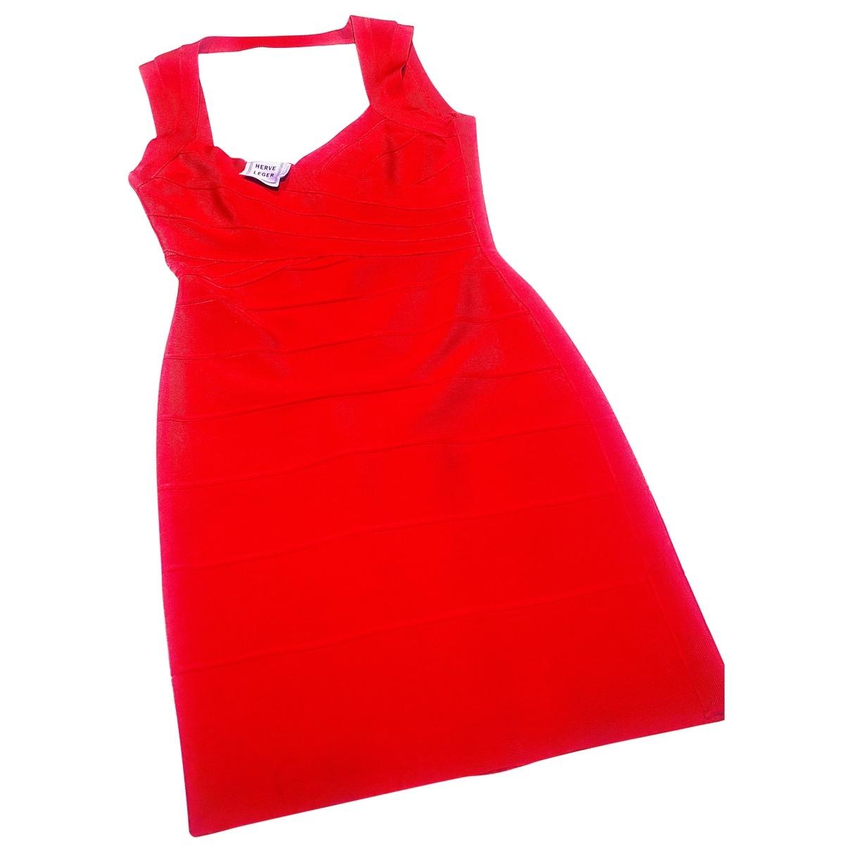Herve Leger \N Kleid in  Rot Baumwolle - Elasthan