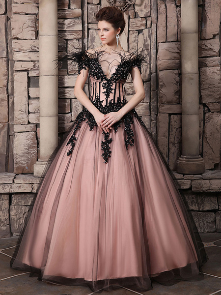 Milanoo Blush Pink Evening Dress Ball Gown Off The Shoulder Quinceanera Dress Feather Lace Applique Party Dress