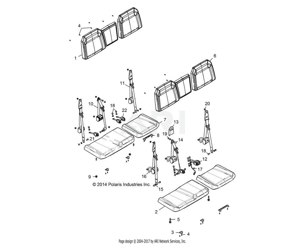 Polaris OEM 2687368 ASM-SEAT, BTM, 60, BL/WHT/BLK | [VM99AM, BM]