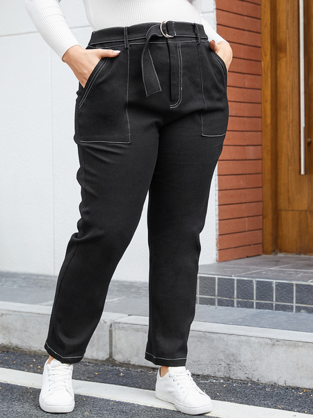YOINS Plus Size Black Belt Design Pants