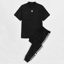 Men Letter & Maple Leaf Print Tee and Striped Side Sweatpants Set
