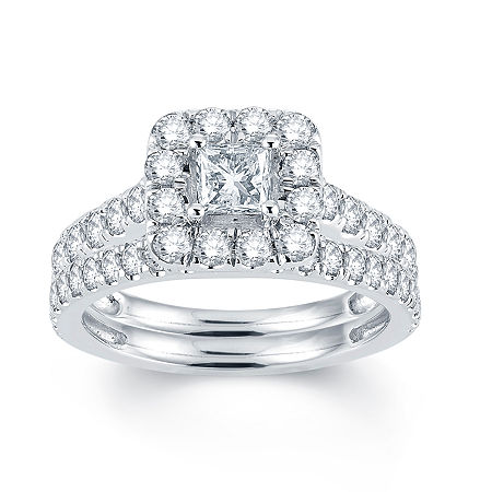 Modern Bride Signature 2 CT. T.W. Diamond 14K White Gold Engagement Ring, 6 , No Color Family