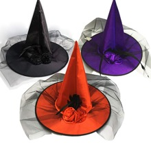 1pc Halloween Mesh Witch Hat