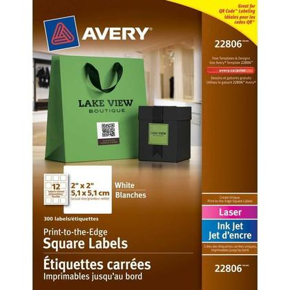 Avery@ Print-to-the-Edge Laser/Inkjet Square Labels, 2 x 2