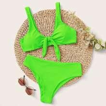 Neon gruener Bikini Badeanzug mit Knoten vorn