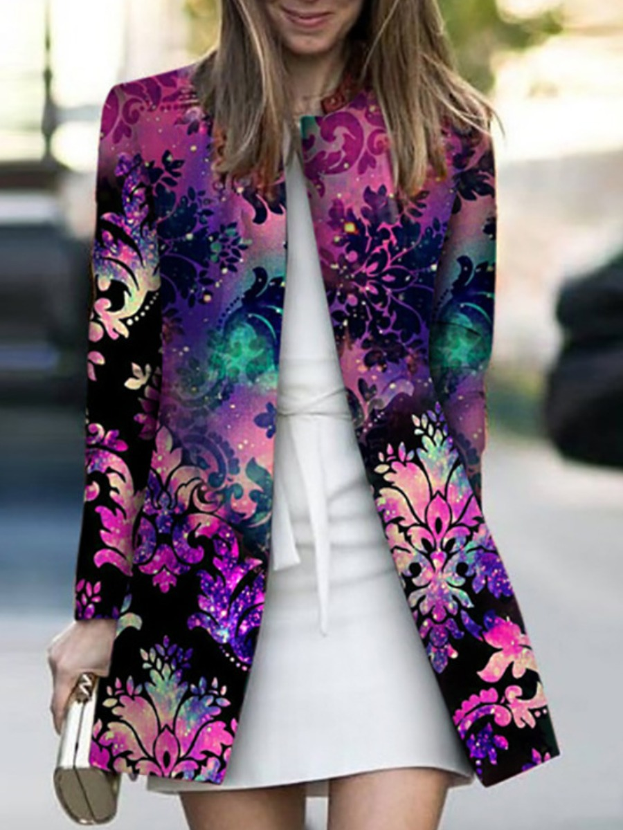 LW lovely Trendy Plants Print Multicolor Coat